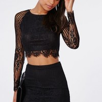 Missguided - Long Sleeve Striped Lace Crop Top Black