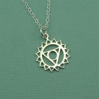 Throat Chakra Necklace - sterling silver hindu yoga necklace - buddhist jewelry - gift