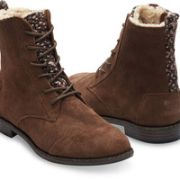 CHOCOLATE BROWN WATER RESISTANT SUEDE TEXTILE WOMEN'S ALPA BOOTS