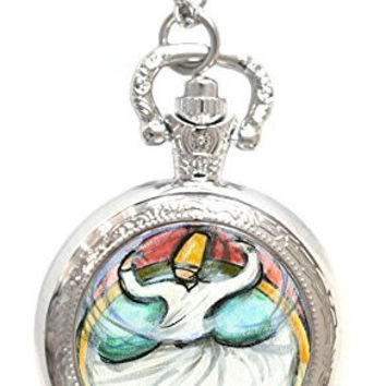 Rumi Sufi Whirling Dervish Silver Necklace Pocket Watch