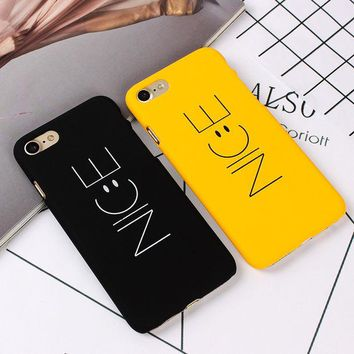 LMFONHS Fashion 'Nice' Yellow Black Phone Back Hard PC Cover For iPhone 7 7plus Funny Nice Emoji Case For iPhone SE  6s  plus Cellphone