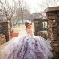 Pixie tutu dress  with train....any color combination .Flower Girl Dress..Vintage Photography Prop