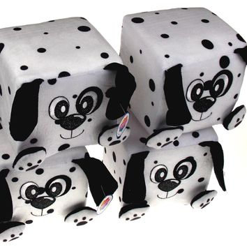 "Nanco Qubz Dog Puppy Dalmatian Lot of 4 Soft Plush Stuffed Animal 6"" Cube White"