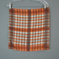 Vintage Vera 1950s Silk Scarf, Brown & Orange Plaid, 16 inches, Neck Head Scarf Handkerchief, Pat. Pending label