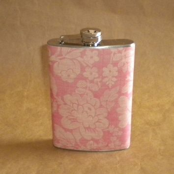 Vintage Looking Pink Sweet Pea Floral Print Stainless Steel Gift Flask