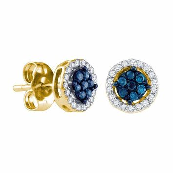 10k Gold Women's Round Blue Diamond Cluster Stud Screwback Earrings - FREE Shipping (US/CA)