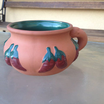 Chili mug, Chili Pepper Mug, Chili Cup, Chili Pottery Mug, Red Clay Mug, Glazed Mug, Stoneware Mug, Chili Bowl, Unique Mug, Vintage Kitchen