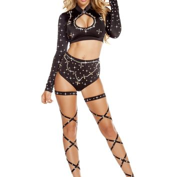 Roma Dancewear USA Black Long Sleeved Crop Top & High Waisted Shorts Rhinestones