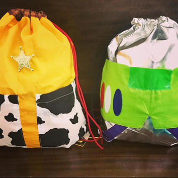 Handmade Disney/ Disneyland backpack/ disneybound woody inspired drawstring bag/ custom character bag upon request