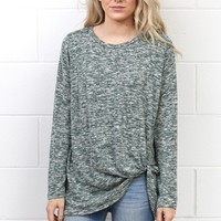Get Twisted Marled Long Sleeve Knit {Dark Green}