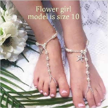 KEY WEST flower girl starfish barefoot sandals - silver