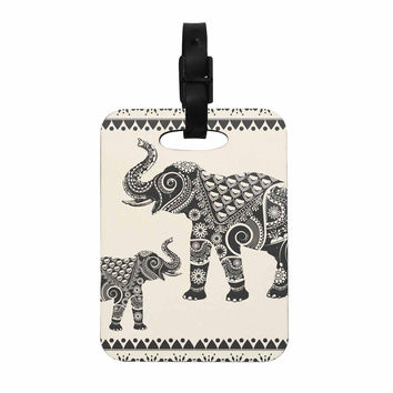 "Famenxt ""Ornate Indian Elephant-Boho"" Black Beige Decorative Luggage Tag"