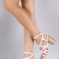 Liliana Crossing Straps Open Toe Chunky Heel