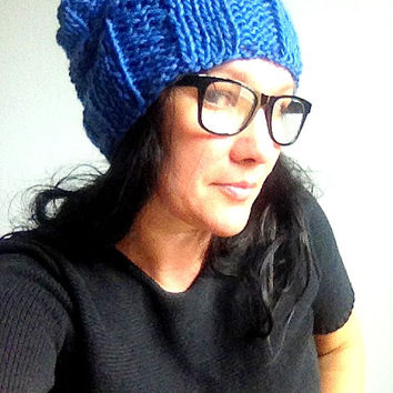 Knit hat blue slouchy thick wool chunky unisex beanie handmade
