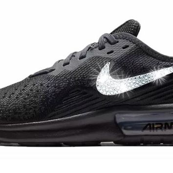Nike Air Max Sequent 4 + Crystals - Triple Black 9a175a9e29
