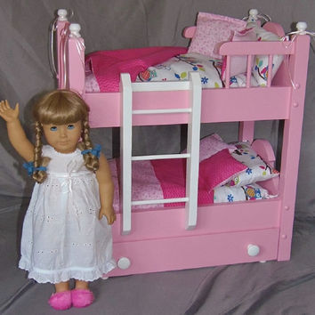 Doll Bunk Bed with Trundle Bed fits American Girl Doll with 13 piece Bedding Set painted Pink