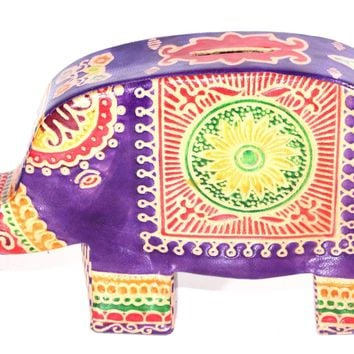 Purple Festival Elephant Leather Piggy Bank