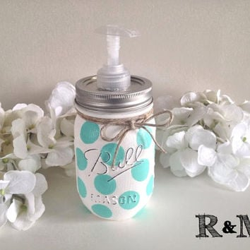 Painted mason jar, home decor, housewares, bathroom decor, bathroom accessories, polka dot, soap dispenser, mason jar soap dispenser