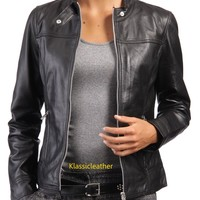 New Original Custom Made Biker Lambskin Leather Jacket For Women EHS W- 711