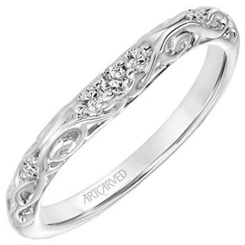 "Artcarved ""Peyton"" Curved Filigree Diamond Wedding Band"