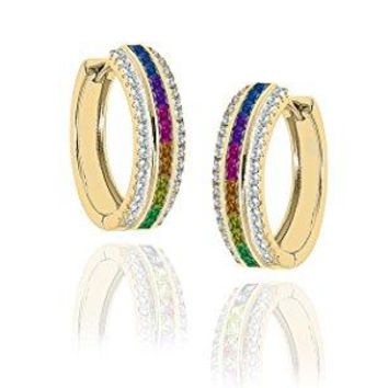 NYC Sterling Women Cubic Zirconia 22MM Princess Cut Rainbow Hoop Earrings