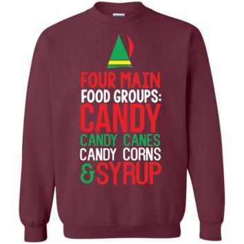 4 Main Food Groups Elf Buddy Christmas Holiday Movie Sweatshirt