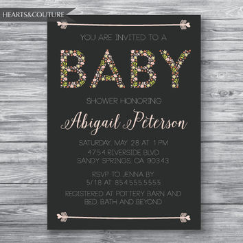 BABY GIRL,  Baby Shower Invitation, floral baby shower,Baby Shower Invite,floral, grey, Baby, babygirl, flowers,pink,digital, printable file