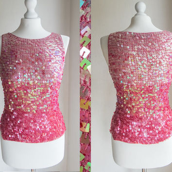 Vintage sequined pink crochet ombre sleeveless top // cocktail bling disco // Glamour Beaded blouse with multicolored / holorgam sequins