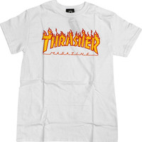 Thrasher Flame Tee Medium White