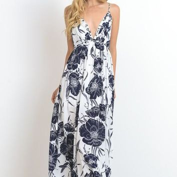 Floral Navy and White Maxi