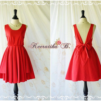 A Party V Charming Dress Prom Party Dresses Red Cocktail Dress Red Wedding Bridesmaid Dress Red Backless Dress Red Bow Back Sundress XS-XL