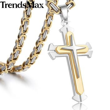 Men's Cross Necklace Gold Silver Black Cross Pendant Stainless Steel Byzantine Chain Necklace 2018 Hip Hop Male Jewelry KP180+