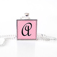 Personalized Glass Tile Pendant with Initial Letter pink white polka dots. Rusteam, tagt