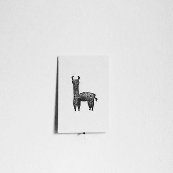 Linocut Llama, Small Print in Black and White on Cotton Canvas, Kids Decor