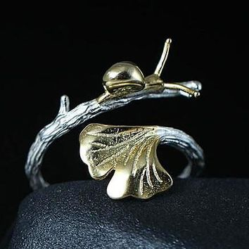 Luxury 100% 925 Sterling Silver Snail Ginkgo Leaves Adjustable RIng