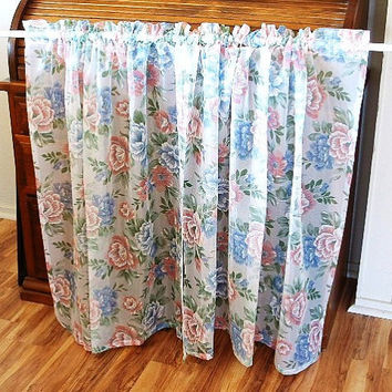 Vintage Floral Curtain Panels Blue Pink Roses Bathroom Kitchen Waterproof