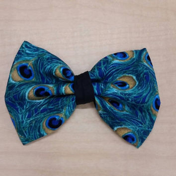 Peacock hair bow/ boys bow tie/ dog bow tie