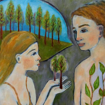 """The Conversation"" Art Print Reproduction from an Original Painting by Janeane Wilbur"