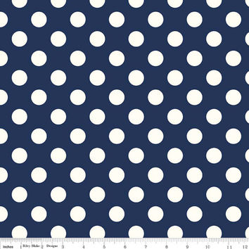 Navy Blue Polka Dot Quilting Cotton Fabric, Riley Blake Designs, 1/2 Yard, more available