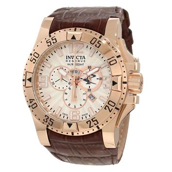 Invicta 10522 Men's Excursion Reserve Silver Dial Rose Gold Steel Brown Leather Strap Chronograph Dive Watch