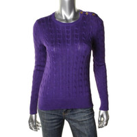 Lauren Ralph Lauren Womens Petites Cable Knit Ribbed Trim Pullover Sweater
