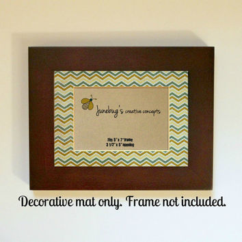 3x5 Photo Mat fits 5x7 Frame Teal Yellow Zig Zag Chevron