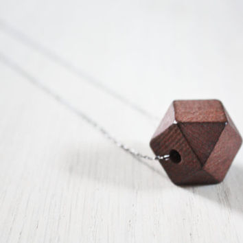 Geometric Hexagon Wood Statement Necklace  - faceted square geo wooden bead on sterling silver chain - minimalist jewelry
