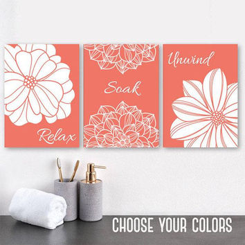 CORAL BATHROOM Wall Art, CANVAS or Prints, Flower Bathroom Pictures, Coral Bathroom Wall Decor, Relax Soak Unwind, Bathroom Quotes Set of 3