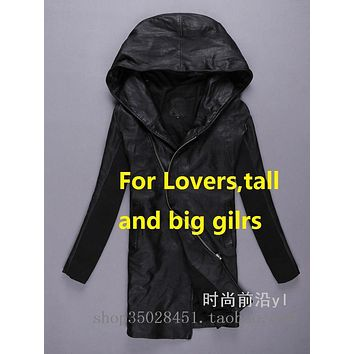 Lovers Long Leather Jacket Natural Sheepskin Leather Jacket Cool Hooded Genuine Leather Jacket For Women And Men