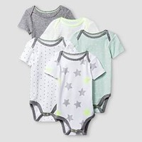 Baby Short-Sleeve 5 Pack Bodysuit Baby Cat & Jack™ - Heather Grey/White : Target
