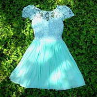 Mint Crochet Dress-$80