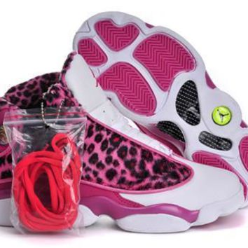 Hot Nike Air Jordans 13 Women Shoes Leopard Print Pink White