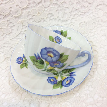 Shelley Tea Cup & Saucer, Ludlow Shape, Morning Glory, Cottage Chic Decor, English Bone China, Vintage Tea Cup