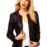 Blazer with Sequin Detail in Black